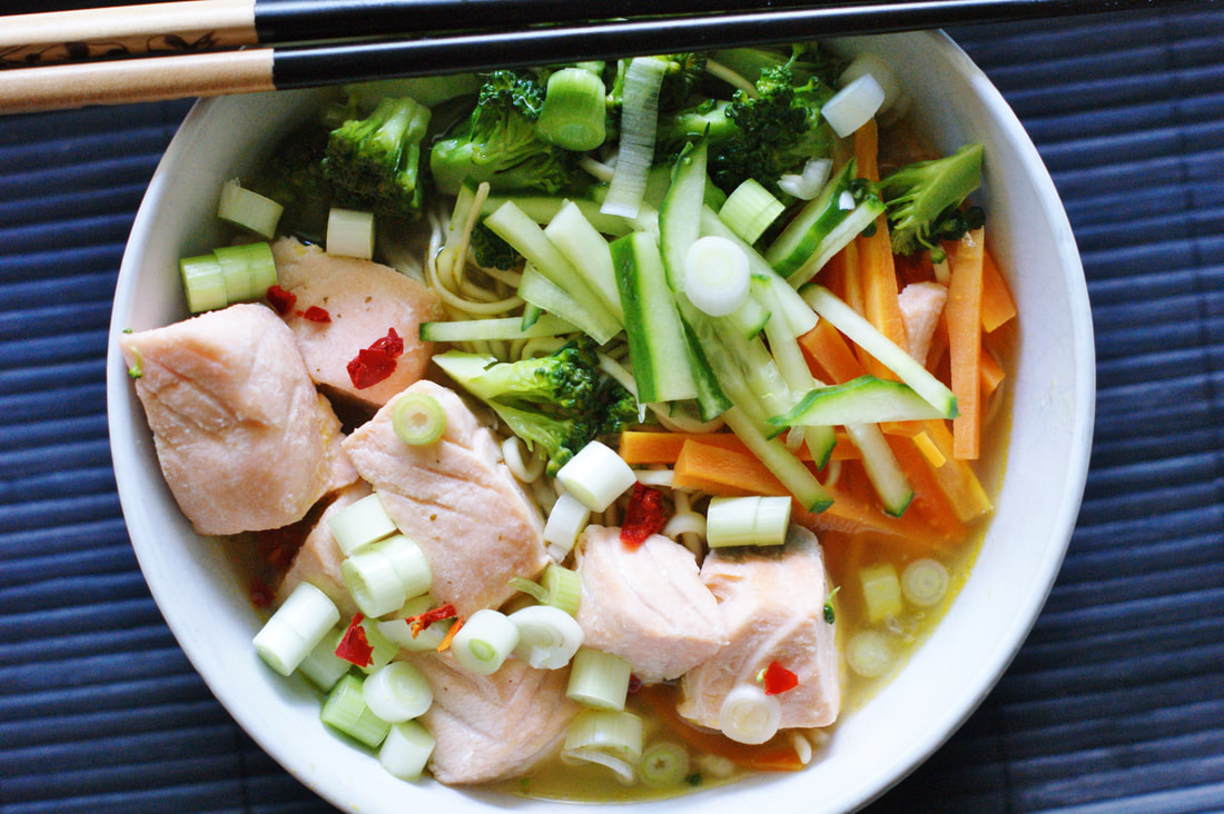 Salmon and noodle soup