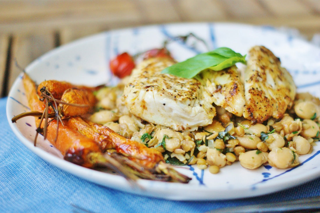 cod with lentils and carrots